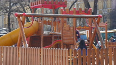 Big wooden children playground in city center of Sofia Bulgaria Stock Footage