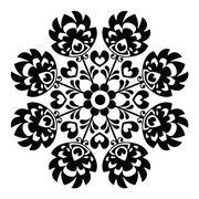 Polish round black folk art pattern - Wzory Lowickie, Wycinanka Stock Illustration