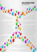 Celebration infographics with balloons Stock Illustration