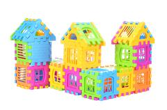 Multi color building pieces block create house isolated on white background - stock photo