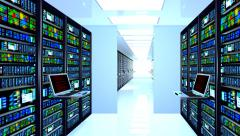 Datacenter,  terminal monitor in server room. Stock Footage