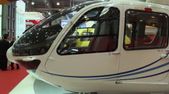 Manufacturers stands and modern model helicopters. - stock footage
