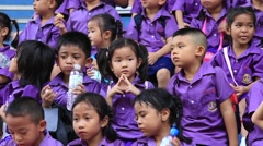 Young children came to watch the show in the Safari World. Bangkok, Thailand Stock Footage