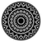 Tribal folk Aztec geometric pattern in circle - stock illustration