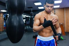 Boxer getting ready for fight - stock photo