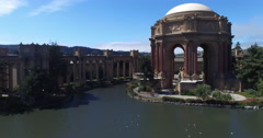 Over the Palace of Fine Arts to the San Francisco Bay Stock Footage