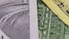 Dollars and Euro Banknotes Rotate Stock Footage