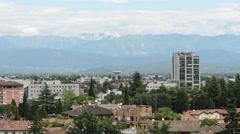 Italian suburb near Mountain range Stock Footage