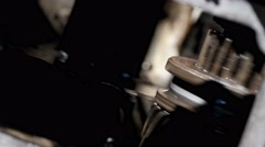 rotating gears in the transmission mechanism, close-up - stock footage