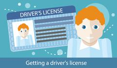 Cartoons Man with Driver License - stock illustration