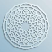 Geometric ornament arabic round pattern background - persian decorative - stock illustration