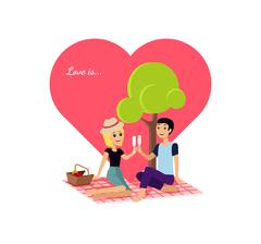 Happy Valentine Day Couple Sitting on Park - stock illustration