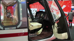 View and interior executive VIP helicopter. - stock footage