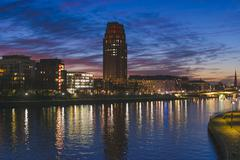 Main Plaza in the Deutschherrnviertel quarter at the blue hour Weseler Werft at Stock Photos