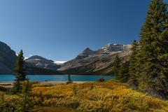Stock Photo of Glacial lake Bow Lake behind Bow Glacier Banff National Park Canadian Rockies