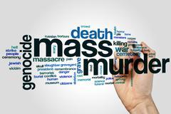 Mass murder word cloud Stock Photos