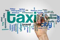 Taxi word cloud Stock Photos