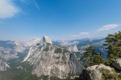View from Glacier Point to the Yosemite Valley with Half Dome Yosemite National Stock Photos