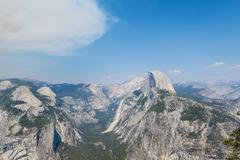 View from Glacier Point to the Yosemite Valley with Half Dome Yosemite National - stock photo