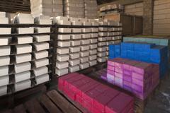 Production of chalk Drei Sterne Kreiden company storing colored chalk blocks Stock Photos