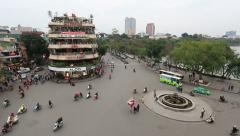 Aerial view of the traffic in the old town of Hanoi, the capital of Vietnam. Stock Footage