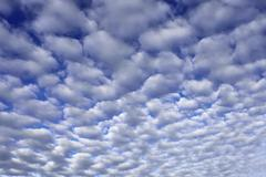 Cirrocumulus fleecy clouds bad weather front Bavarian Prealps Bavaria Germany Stock Photos