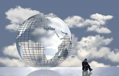 Computer graphics thoughtful man in front of globe with clouds Stock Illustration