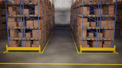 Warehouse interior with racks and crates - stock illustration