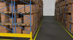 Interior of warehouse. Rows of shelves with boxes. - stock illustration