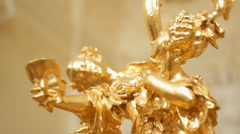 Golden Statue in the Opera House. Golden Mask. Stock Footage