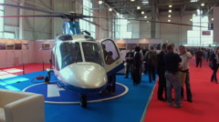 Visitors On Aviation Helicopter Exhibition. - stock footage