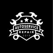 Service auto repair, coat of arms shield, wrench, hammer, logo sign flat star Stock Illustration
