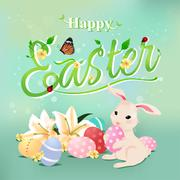 Happy Easter typographical background with bunny rabbit. Stock Illustration