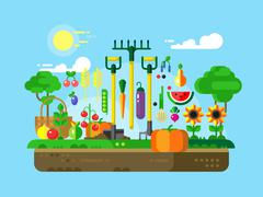 Gardening Design Flat Stock Illustration