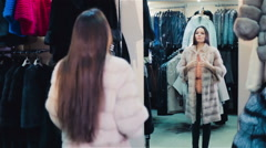 Beautiful brown-haired girl chooses a fur coat in the store. Shopping. Series Stock Footage