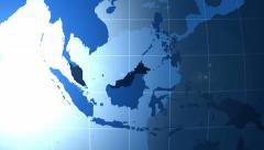 Malaysia. Zooming into Malaysia on the globe. Stock Footage