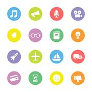 colorful transport and miscellaneous flat icon set on circle - stock illustration