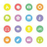 colorful miscellaneous flat icon set on circle - stock illustration