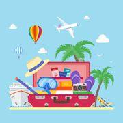 Travel concept vector illustration in flat style design. Vacation and tourism - stock illustration