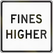 Fines Double United States MUTCD road sign - Fines higher Stock Illustration