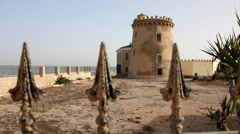 Watchtower on the Spanish Mediterranean coastline, Torre de la Horadada Stock Footage