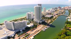 Beautiful View of Oceanfront Resorts - Millionaires Row Stock Footage