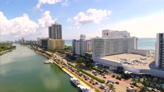 Aerial Reveal of the Fontainebleau Resort - Oceanfront Stock Footage