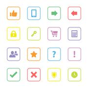 Stock Illustration of colorful miscellaneous flat icon set with rounded rectangle frame
