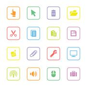 colorful computer and technology flat icon set with rounded rectangle frame - stock illustration