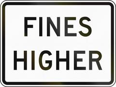 Fines Double United States MUTCD road sign - Fines higher - stock illustration