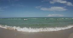 Ocean View with Jet Skis - Miami Beach 4K Stock Footage