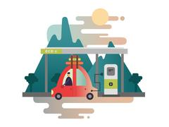 Electric car design Stock Illustration
