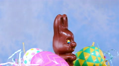 Chocolate Easter Bunny Basket Stock Footage