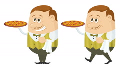 Waiter with Pizza, Seamless Loop - stock footage